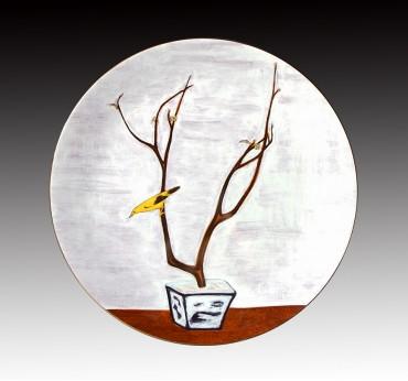 12吋花鳥金邊轉寫盤_常玉