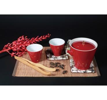 紅映飄香一壺二杯茶具組(紅)
