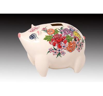 花現幸福瓷豬