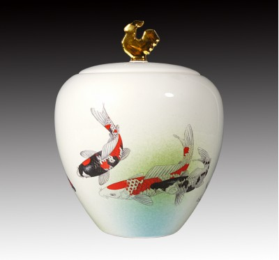 水渲釉錦鯉金雞糖果罐