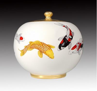 上金無光白錦鯉聚寶蓋罐