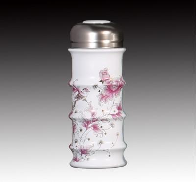 甜白釉西洋牡丹節節高升雙層杯