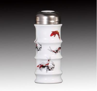 甜白釉錦鯉節節高昇雙層杯
