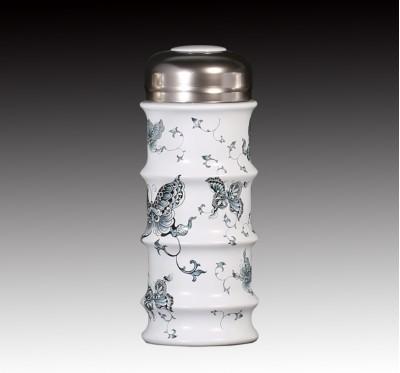 甜白釉青花蝴蝶節節高升雙層杯