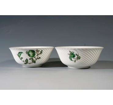 綠彩石榴骨瓷條紋2入碗禮盒