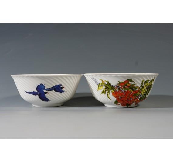 蘭鵲吉利骨瓷條紋2入碗禮盒