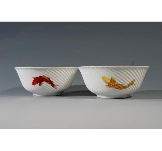 錦鯉骨瓷條紋2入碗禮盒