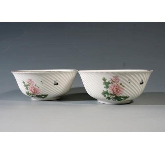 牡丹迎春骨瓷條紋2入碗禮盒