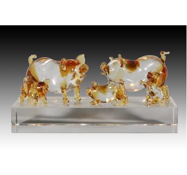 16cm全家福豬+水晶座