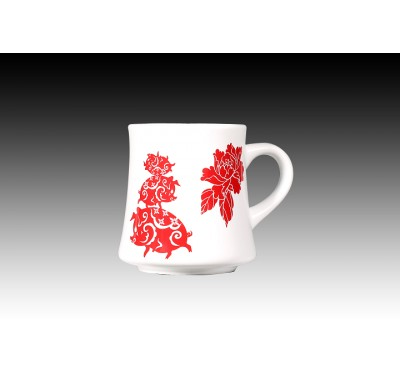 甜白釉金豬富貴(紅)摩卡杯