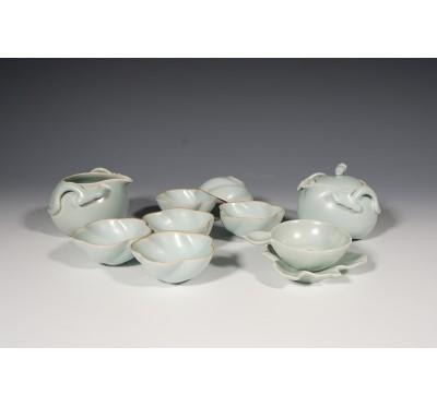 汝窯粉青瓷十件式茶組
