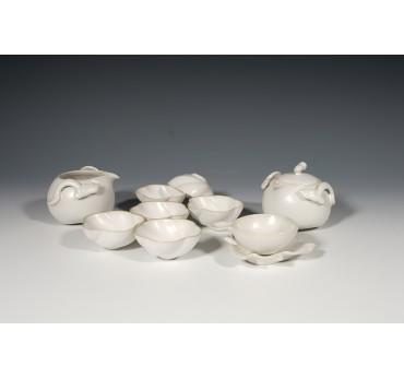 月牙白瓷十件式茶組