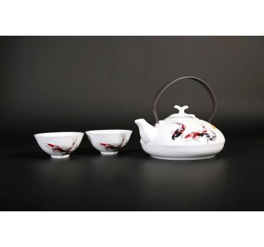 無光白釉錦鯉一壺二杯美人茶組