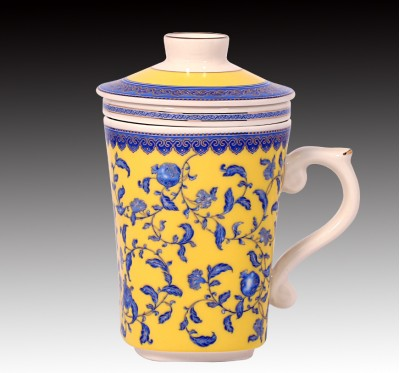 三件式青花石榴蓋杯