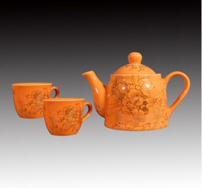橘釉金牡丹一壺二杯下午茶組