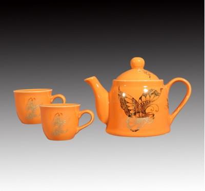 橘釉金蝴蝶一壺二杯下午茶組