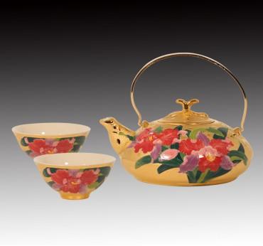 雕金堆線金彩王者之風美人茶組\一壺二杯