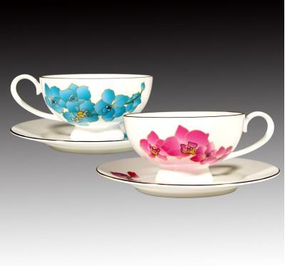 台灣蝴蝶蘭骨瓷咖啡對杯