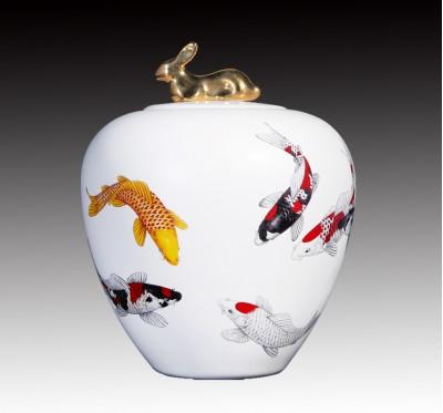 5吋無光白錦鯉玉兔罐