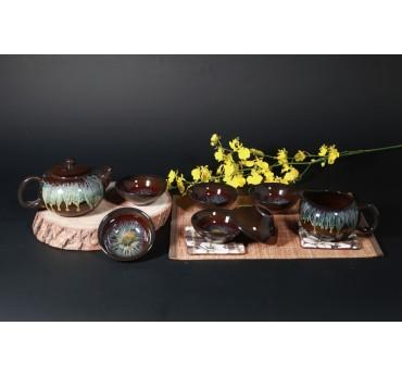 灑金窯變8件式茶具組
