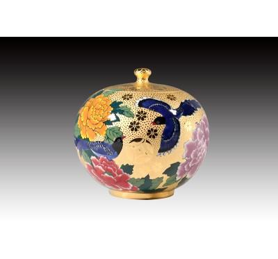 6吋雕金藍鵲牡丹聚寶蓋罐