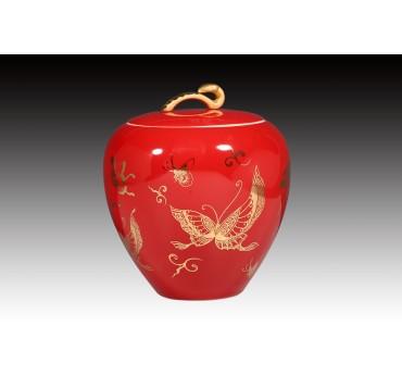 6吋洋紅釉金蝴蝶糖果罐