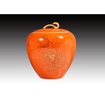 6吋亮橘釉金牡丹糖果罐