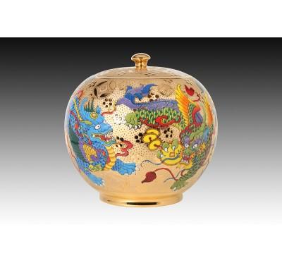 10吋雕金富貴貔貅聚寶蓋罐