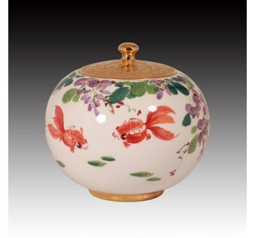 6吋上金紫藤花聚寶蓋罐