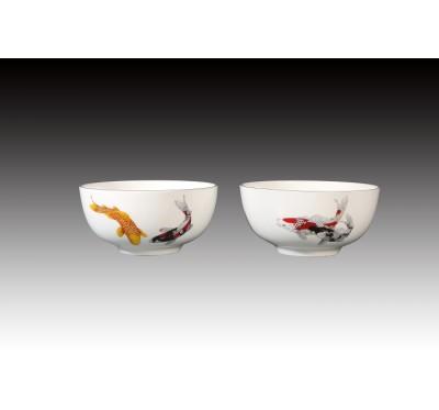 錦鯉骨瓷雙入平口碗禮盒