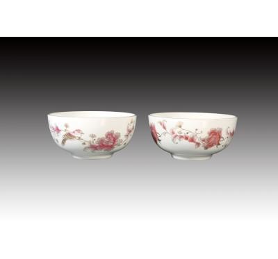 西洋牡丹骨瓷雙入平口碗禮盒