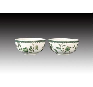 綠彩石榴骨瓷雙入平口碗禮盒