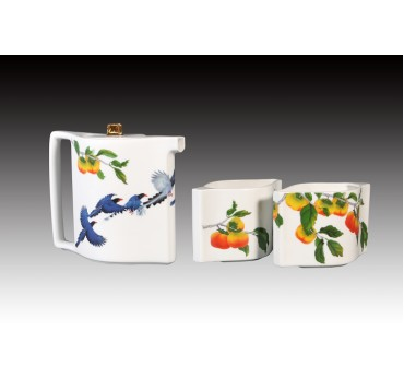 藍鵲飛臨骨瓷一扁壺二杯茶組