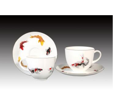 8oz錦鯉骨瓷咖啡對杯禮盒