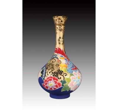 12吋雕金堆線金彩鳳凰呈祥蒜頭瓶