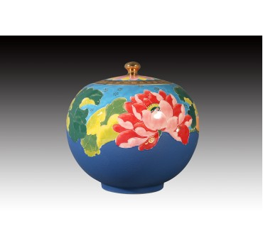 6吋雕金堆線金彩靛藍釉聚寶蓋罐