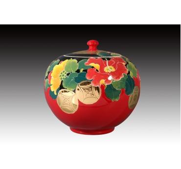 6吋雕金堆線金彩洋紅釉鴻運昌榮聚寶蓋罐