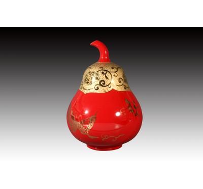 8.5吋上金洋紅釉金蝴蝶葫蘆